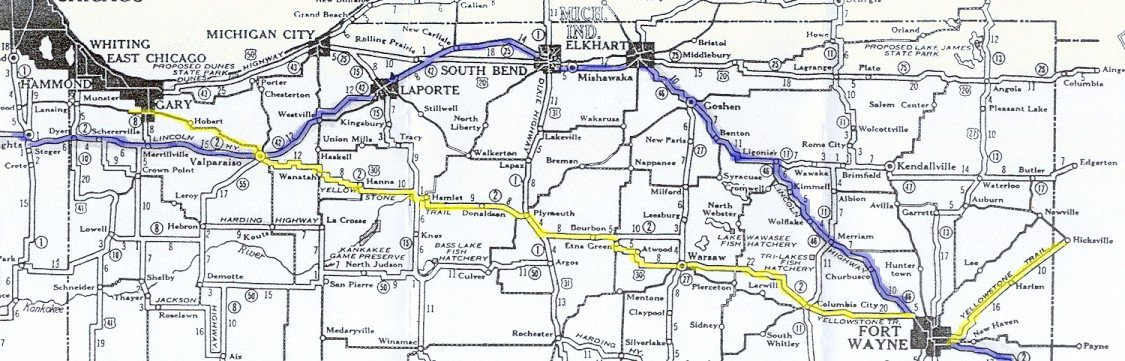 Indiana map of the Yellowstone Trail